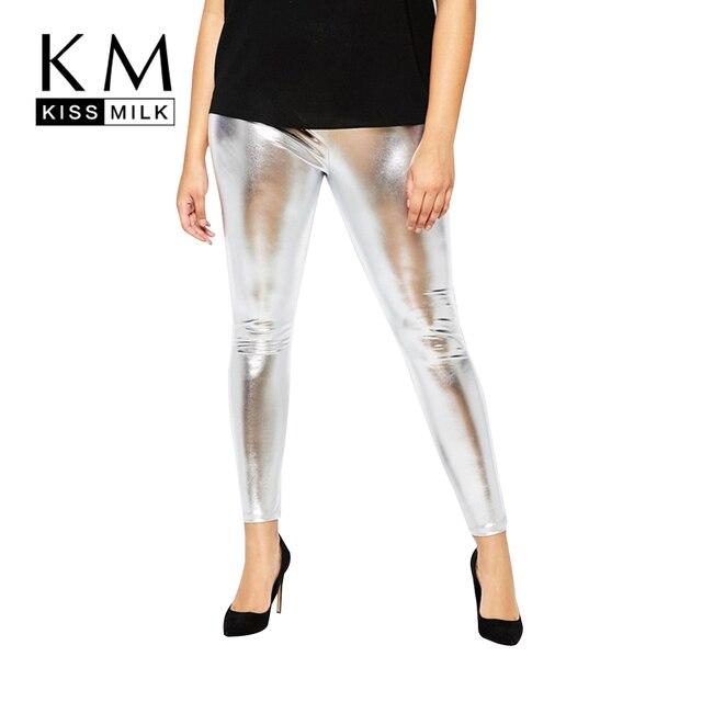 Kissmilk Plus Size Women New Fashion Big Large Size High Waist Highlight Solid Black Punk Style Leggings Summer Slim Leggings