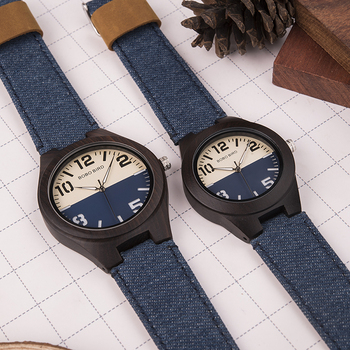 Reloj de madera pulso denim Hombre-Mujer