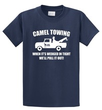 T Shirt Summer Style Funny Cotton Men O-Neck Camel Towing  Short-Sleeve Shirts