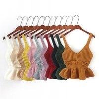 Korean Style Gilet Jersey Winter Truien Dames Cute Ruffle Vest Knit Crop Sweater Women Yellow Black