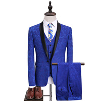 Mens Royal Blue Floral Suits With Pants Shawl Collar Groom Wedding Dress Suits For Luxury
