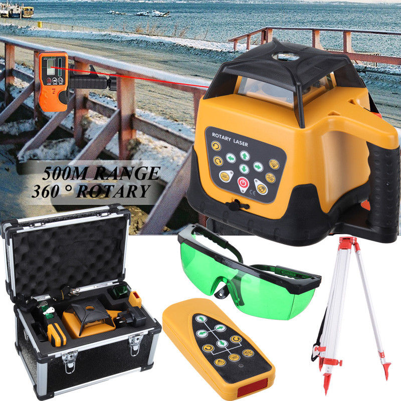 Yonntech Automatic Green Beam Self Levelling 500m Range Rotating Laser Level Rotary + Tripod + Staff