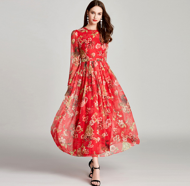 New Arrival 2019 Women s O Neck Floral Printed High Street Fashion Casual Summer Dresses in