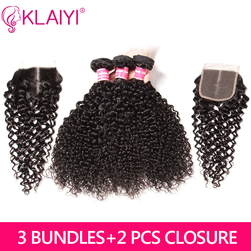 Klaiyi Hair 3 Bundles With 2 Closure Brazilian Curly Hair With Closure Free Middle Three Part 100% Remy Human Hair Weave Bundles(China)