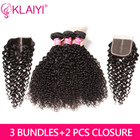 Klaiyi Hair 3 Bundles With 2 Closure Brazilian Curly Hair With Closure Free Middle Three Part 100% Remy Human Hair Weave Bundles