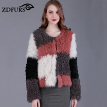 ZDFURS * Design Rabbit Fur Mongolia Sheep Fur Lamb Fur Combined Knitted Winter Jacket fur coat outerwear short style