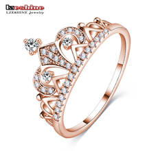 LZESHINE New Exquisite Crown Shaped Ring Rose Gold Color CZ Rings for Women Fashion Aneis De Ouro AAA Zirconia Jewelry CRI0448