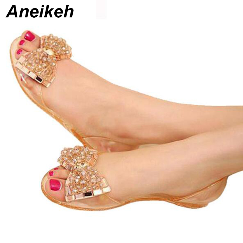 Aneikeh Women Sandals Summer Style Bling Bowtie Jelly Shoes Woman Casual Peep Toe Sandal Crystal Flat Shoes Size 35-40 TB new 2017 summer women sandals breathable shoes crystal jelly nest crystal sandals female flat sandal shoes woman