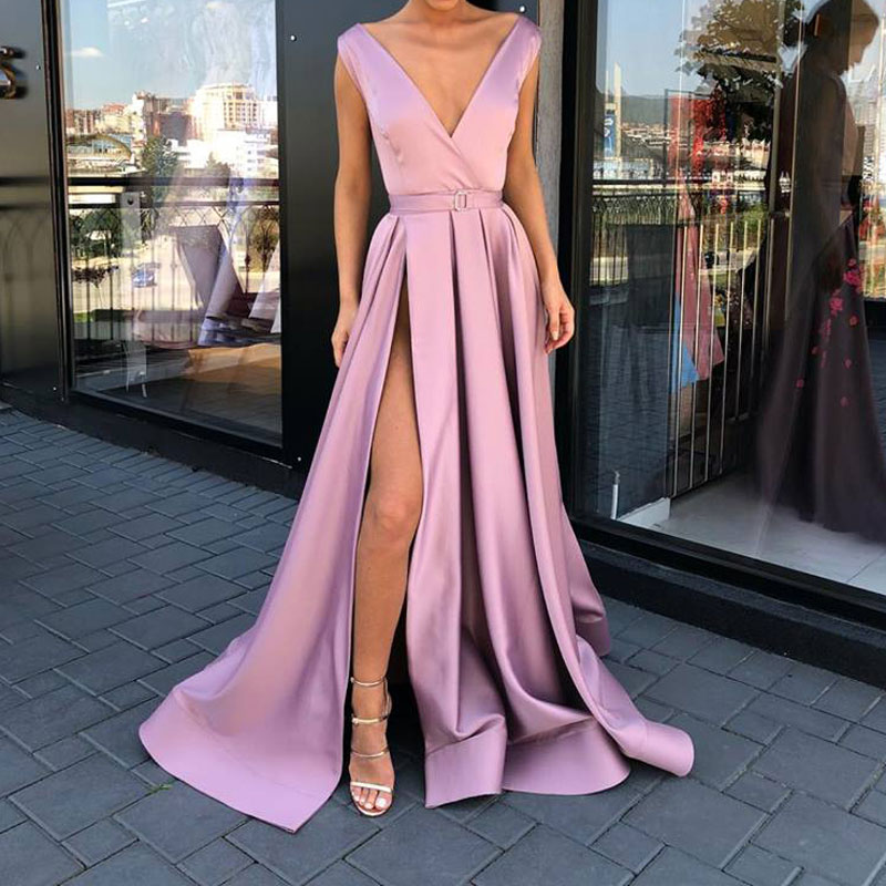 New arrival   evening     Dress   Formal vestido noiva sereia prom party robe de soiree green gown luxury frock V-neck side slit pockets