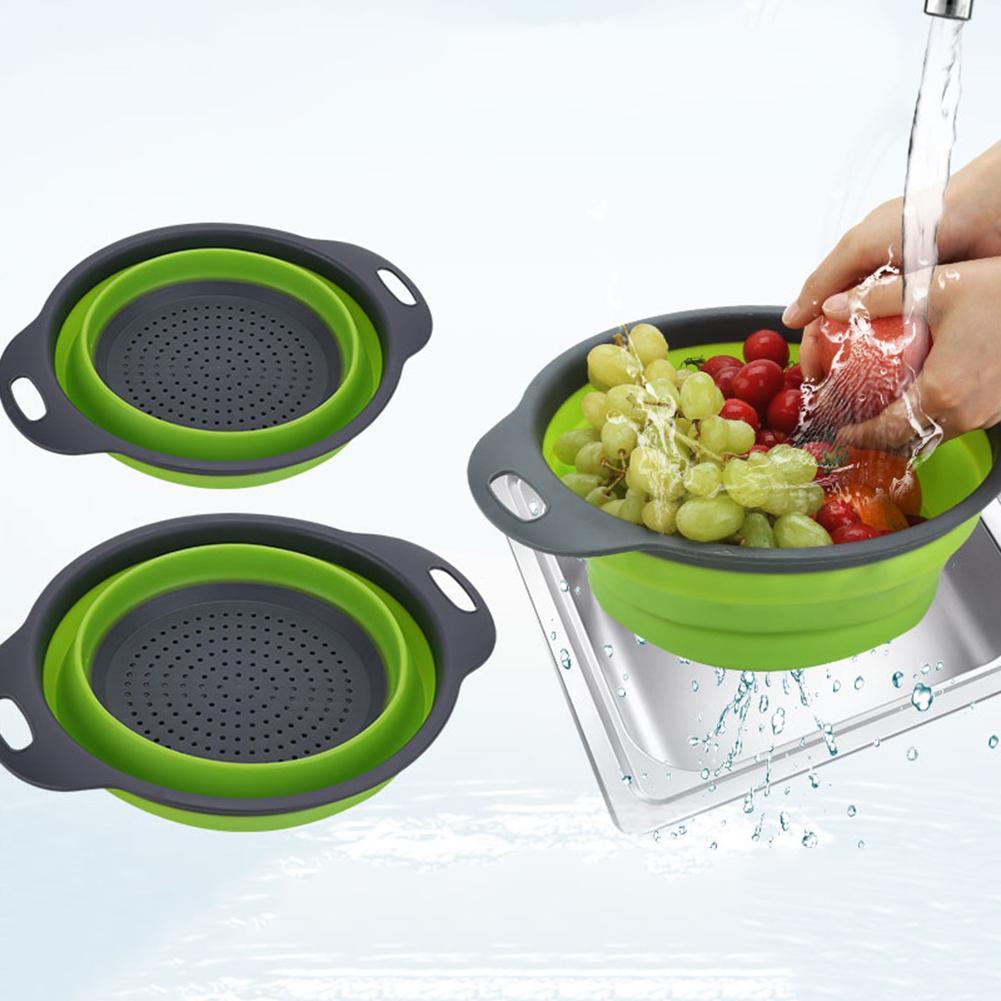 Utensil-Accessories Washing-Basket Folding Kitchen Drain Strainer-Colander Vegetable-Fruit