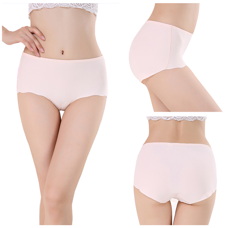 Buy Women Sexy Panties Briefs Underwear Lingerie Ice Silk Comfort Breath Non-Trace Mid Waist Cotton Crotch Underpants Lady Panties