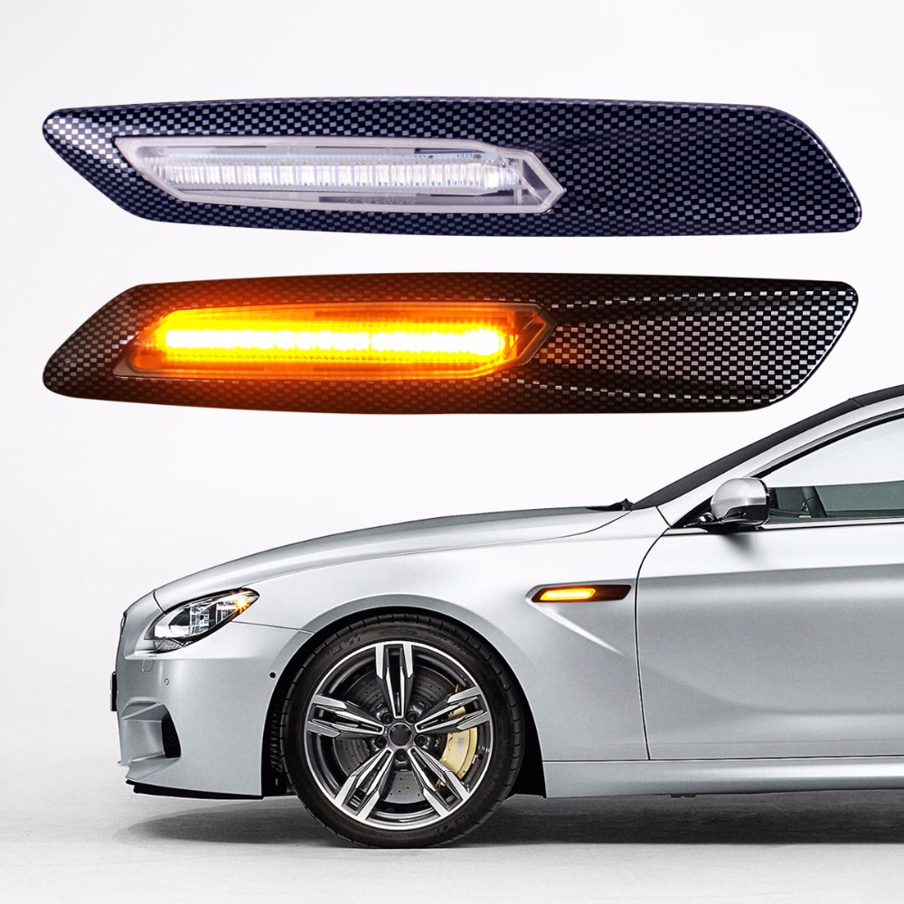 Pc F10 Style Car LED Fender Side Marker Turn Signal Light for BMW E60 E61 E81 E82 E87 E88 E90 E91 E92 E93 Gloss Black Clear Len free shipping 2x led turn signal side light auto parts led side marker car accessories with m logo for bmw e46 02 05 4d 5d