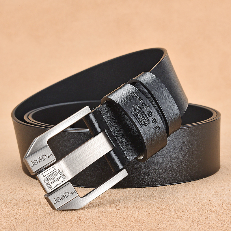 NO ONEPAUL Genuine Leather For Men High Quality Black Buckle Jeans Belt Cowskin Casual Belts Business Belt Cowboy waistband in Men 39 s Belts from Apparel Accessories