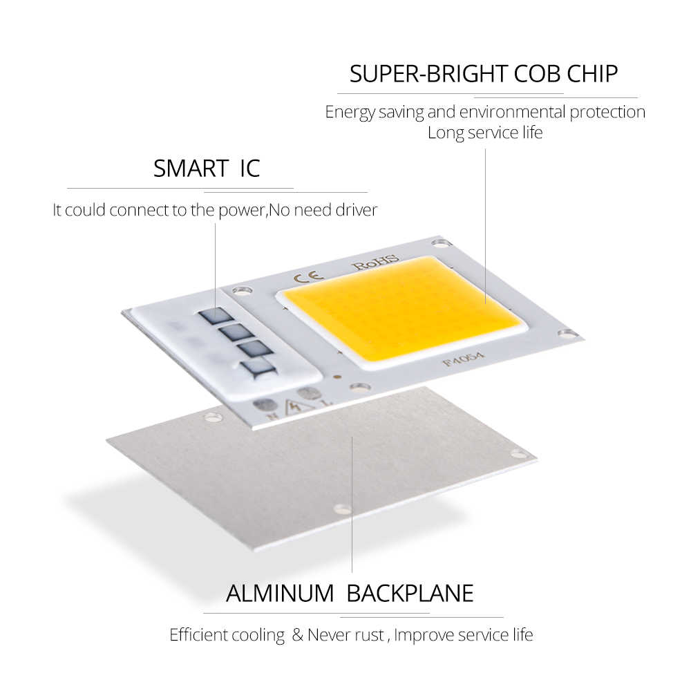 LED DOB AC 220V Lamp Chip 10W 20W 30W Sufficient Wattage Smart IC Energy Saving DIY LED Spotlight Floodlight COB Chip Cool White