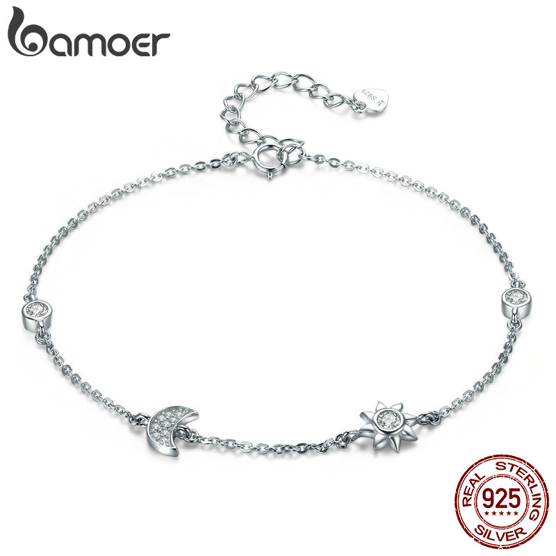 BAMOER Genuine 100% 925 Sterling Silver Lobster Clasp Star And Moon Clear CZ Bracelet & Bangles for Women Silver Jewelry SCB081