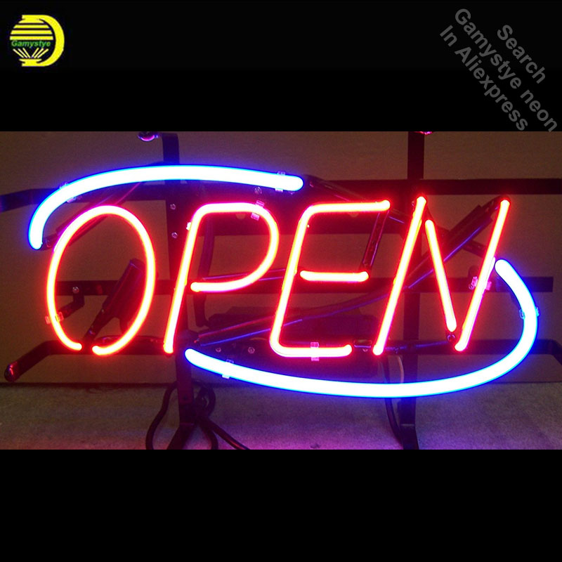 цена Red Open Neon Signs Handcrafted Neon Bulb Beer Bar Pub Glass Tube Iconic Sign Professional Bulb Light Decorative Characteristi в интернет-магазинах