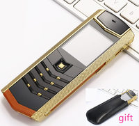 Super Slim Gold Mobile Phone V1 Metal Cell Phone Fashion Business Phone Vibration Russian French H