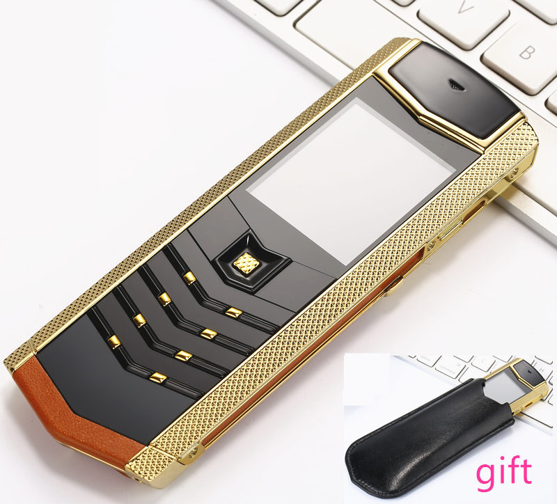 Luxury metal leather housing mobile phone original china gsm Phone dual sim Cell Phones bluetooth mp3