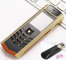 Vivienda de lujo metal + cuero original del teléfono móvil de china Teléfono gsm dual sim teléfonos Móviles bluetooth mp3 móvil H-móvil V1