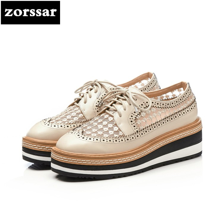 {Zorssar} 2018 Summer NEW Genuine Leather Leisure Platform shoes women High heels sandals Wedges shoes pumps creepers shoes