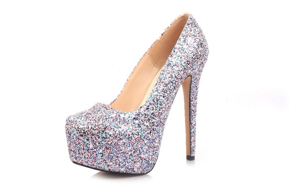 2015 new hot selling big size fashion silver glitter gz spike high ...