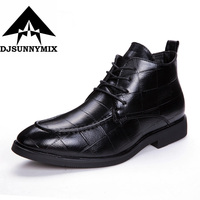 DJSUNNYMIX Brand Men Shoes 2018 Autumn Winter New Design High Top Men Leather Shoes Handmade Dress