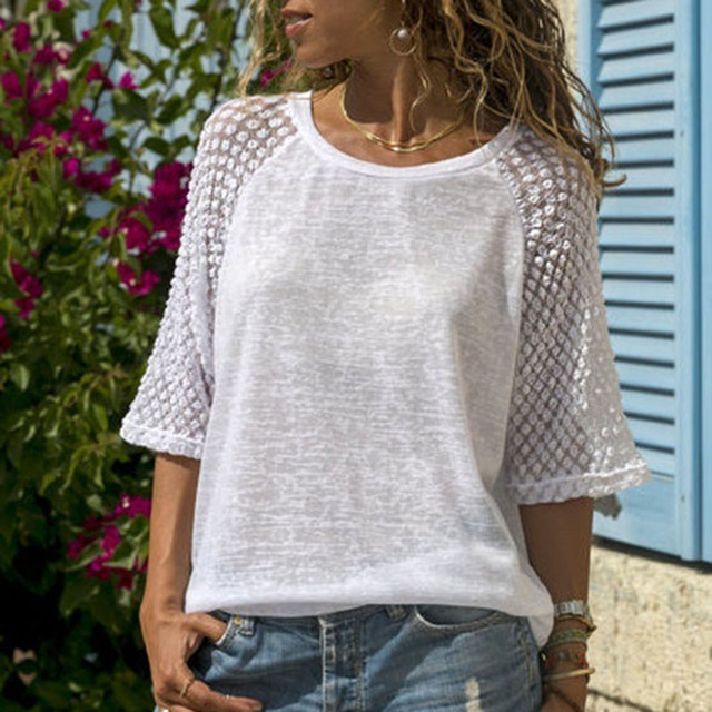 Summer T Shirt Women Top Lace Stitching O-Neck Cropped Sleeves Casual Tshirt Women Tops Tee Shirt Femme Camiseta Mujer Plus Size