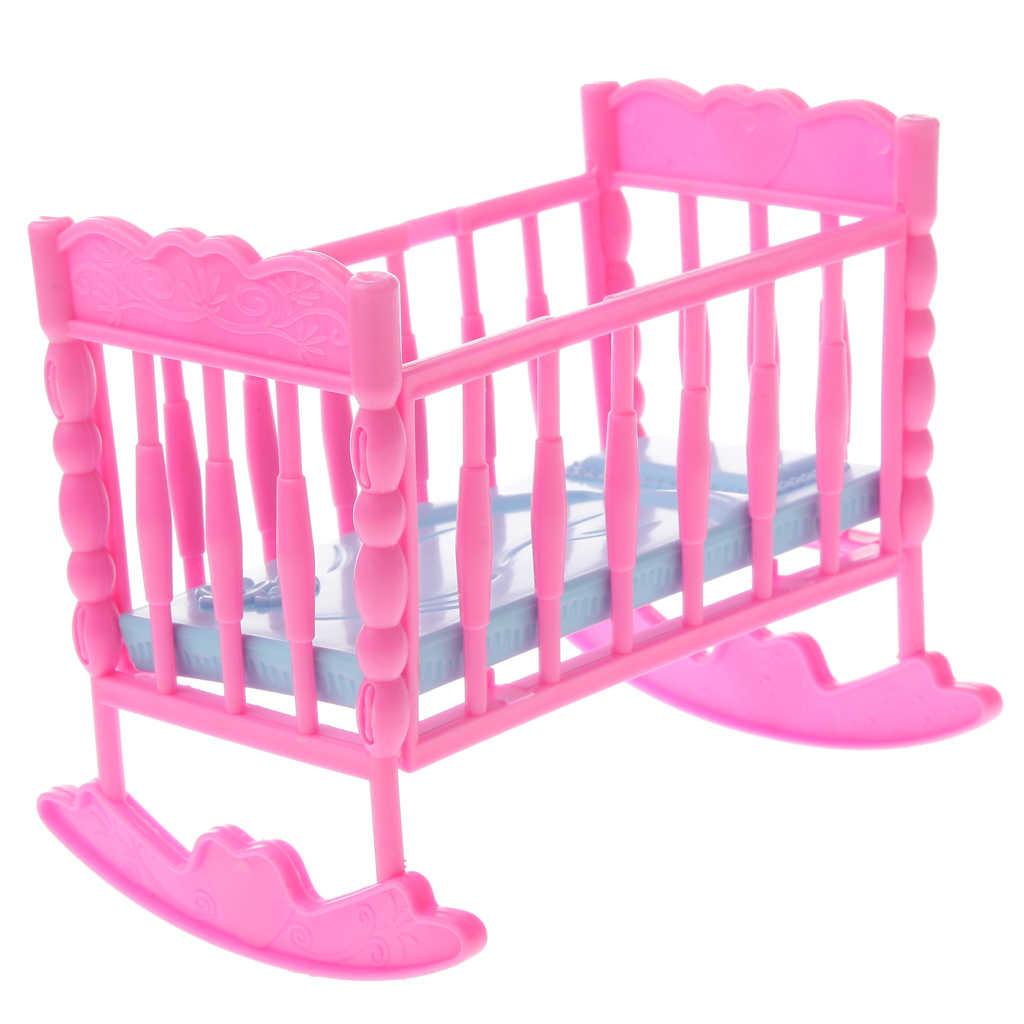 1/6 różowy kołyska dziecięca łóżko + wózek Model Dollhouse miniaturowe meble dla Blythe lalki akcesoria dla dzieci Playset