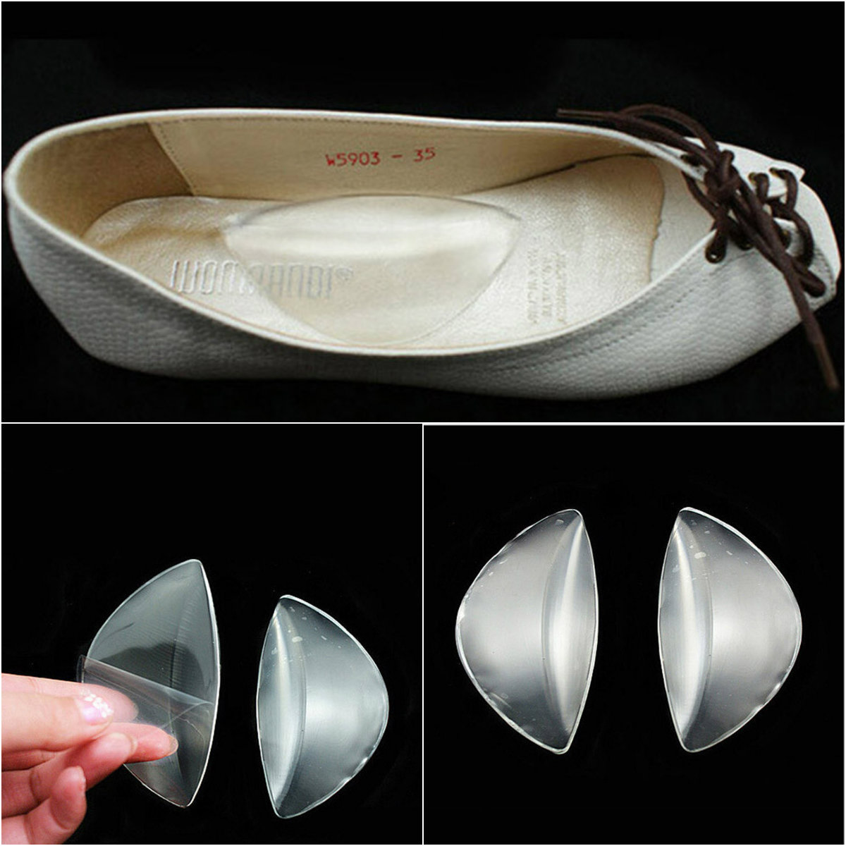 1 Pair Silicone Gel Arch Support Shoe Inserts Foot Insole Wedge Cushion Pads Pain