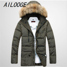 2016 new arrival Fur collar men's down jacket thickening fashion casual high quality coat with hood warm plus size S-3XL