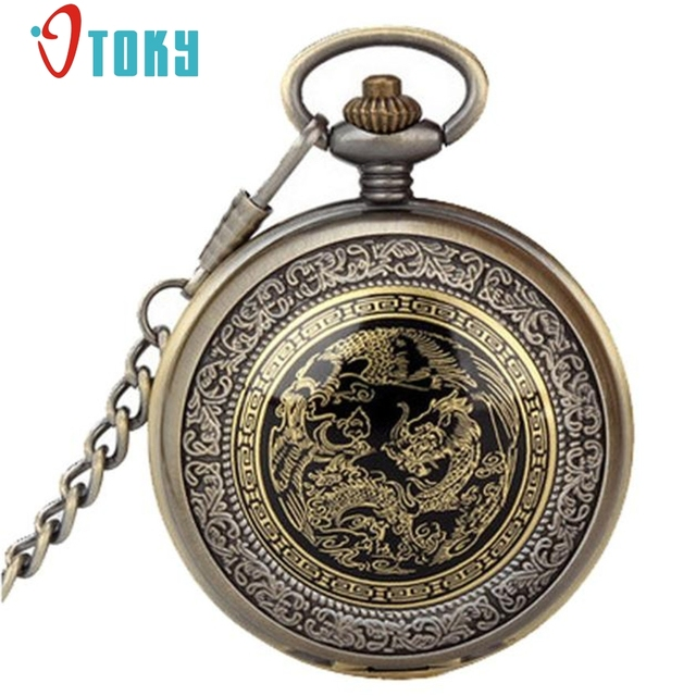 OTOKY Vintage Bronze Dragon Phoenix Quartz Pocket Watch Pendant Chain Necklace F