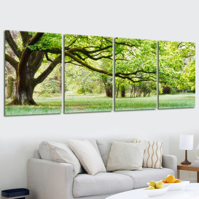 4 panel tree landscape canvas oil painting picture home decor modular wall picture for living room