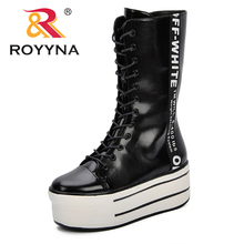 ROYYNA New Designer Fashion Increasing Women Shoes High Heels Platform Boots Side Zipper Winter Trendy