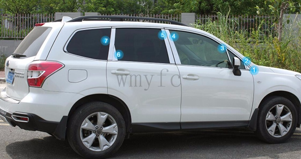 ACCESSORIES FIT FOR Subaru Forester 2013 2014 201 52016 2017 2018 WINDOW CHROME PILLAR POST COVER TRIM MOLDING GARNISH ACCENT stainless steel side door molding trim cover for 2013 up subaru forester
