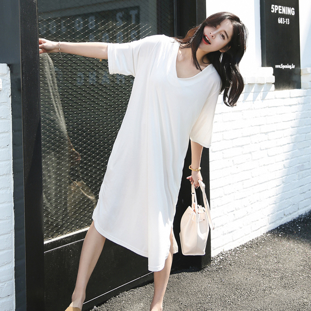 Korea Style Straight T Shirt Dress Women Simple White V Neck Cotton