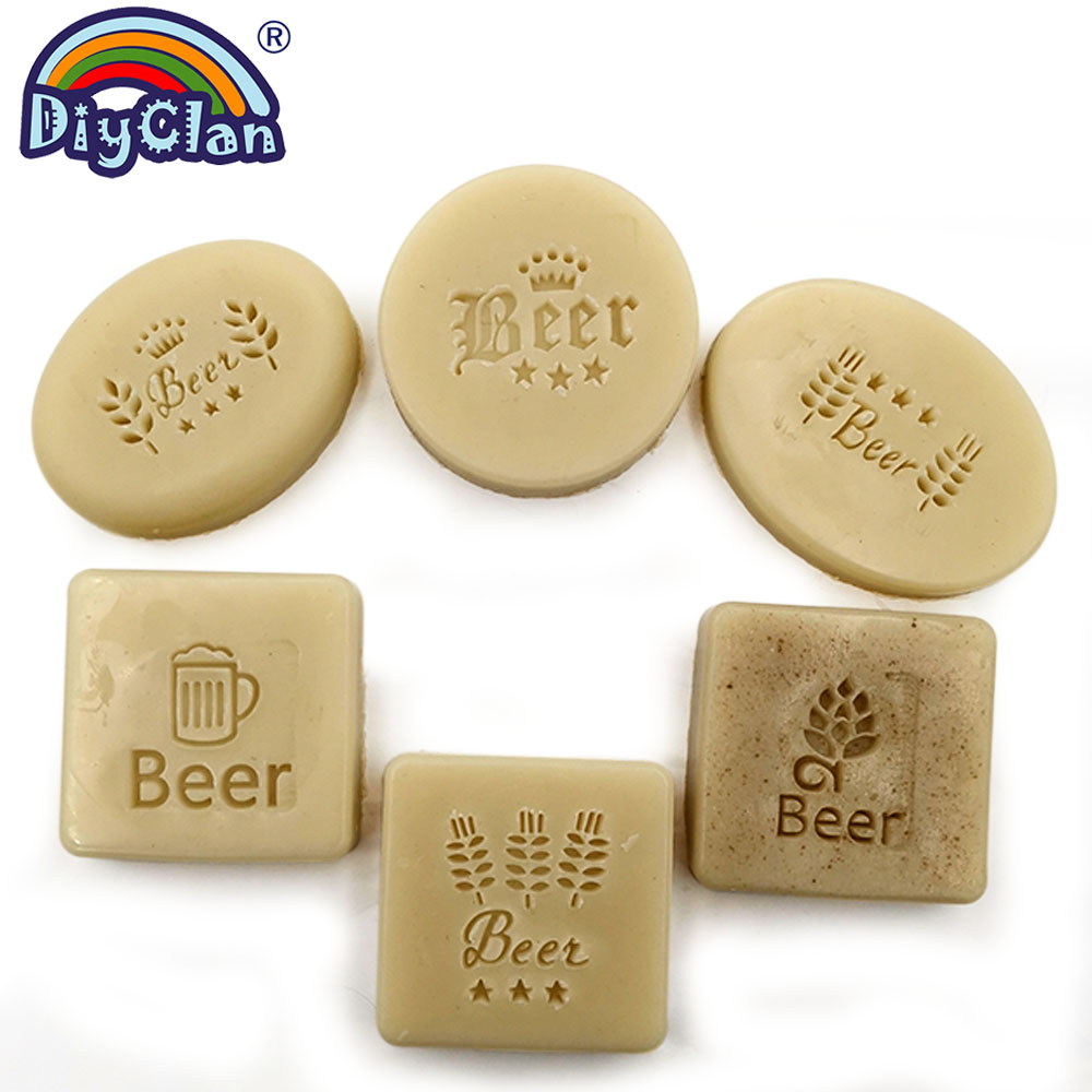 Handmade Beer Soap Stamp Wheat Pattern Clear Diy Natural Organic Acrylic Chapter Beer Cup Soap Making Seal With Handle Custom