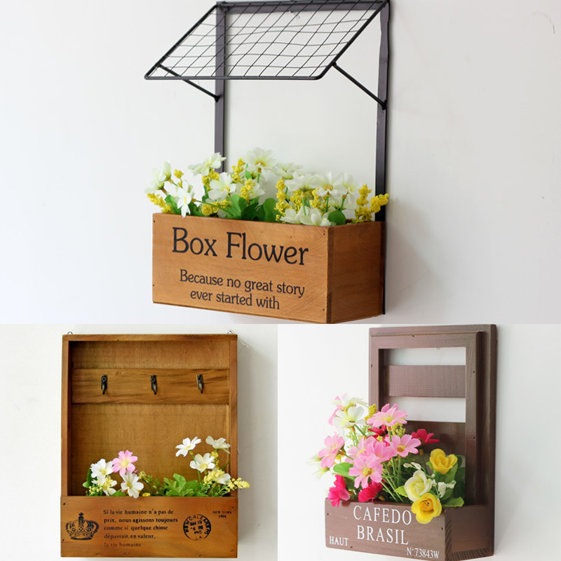 Vintage Flower Box Pine Wooden Wall Planter Pastoral Style Home ...