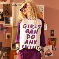ELF SACK Summer Women Letter Prints T Shirts Three Quarter Sleeve Loose O Neck Basic Womens