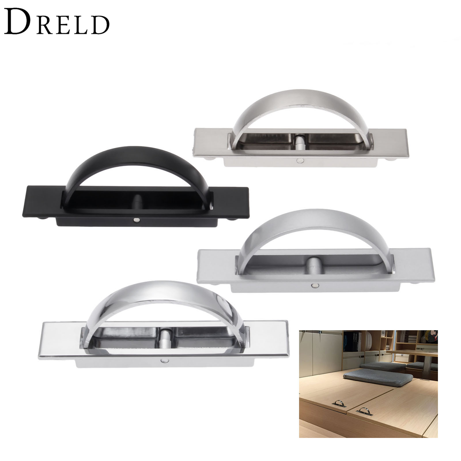 DRELD Hidden Door Furniture Handles Zinc Alloy Recessed Flush Pull Cover Cabinet Cabinet Knobs and Handles Furniture Hardware