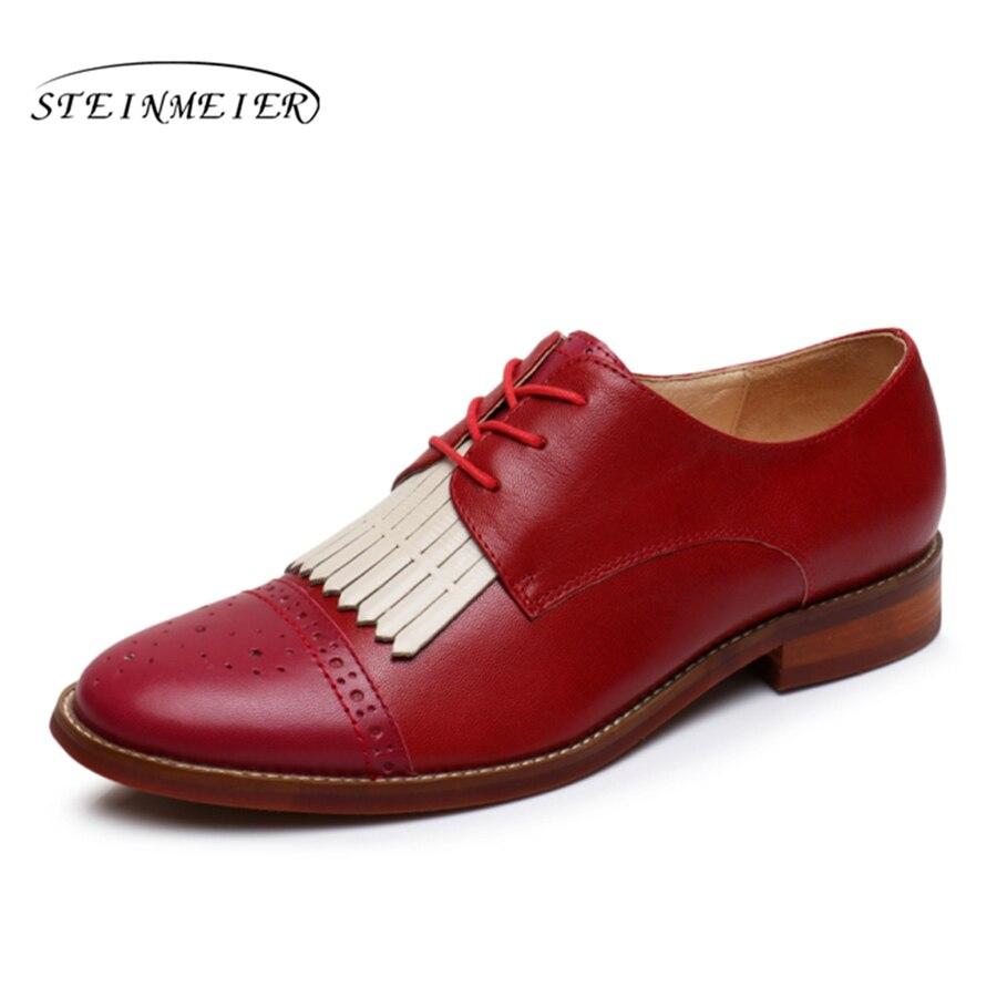 Véritable En Femmes Pour Décontractées red Derbies Brown Cuir Vintage De Dames Chaussures pink Femme Yinzo Appartements Oxford Baskets gvgqxw