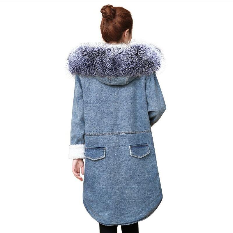 Manteau Filles 3 Manches Chaudes Jeans Veste Outwear Fourrure Vestes Fausse 2 Hiver Lâche Mode Nouvelle Longues En 1 Dames Casual 2018 4 Femmes Jean qaBH7wa