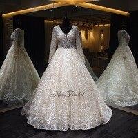 vestidos de noiva Crystal Beaded Lace Wedding Dress Vintage 2018 Long Sleeve V Neck A line Bridal Wedding Gowns