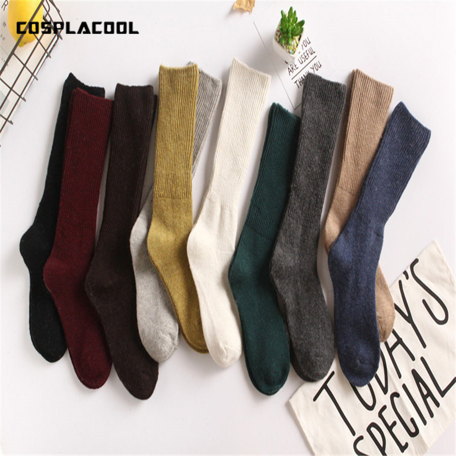 [COSPLACOOL] 2017 Harajuku Retro Art style Japan women   sock   meias Fall Winter lady Thick warm sexy wool   sock   Multicolor sokken