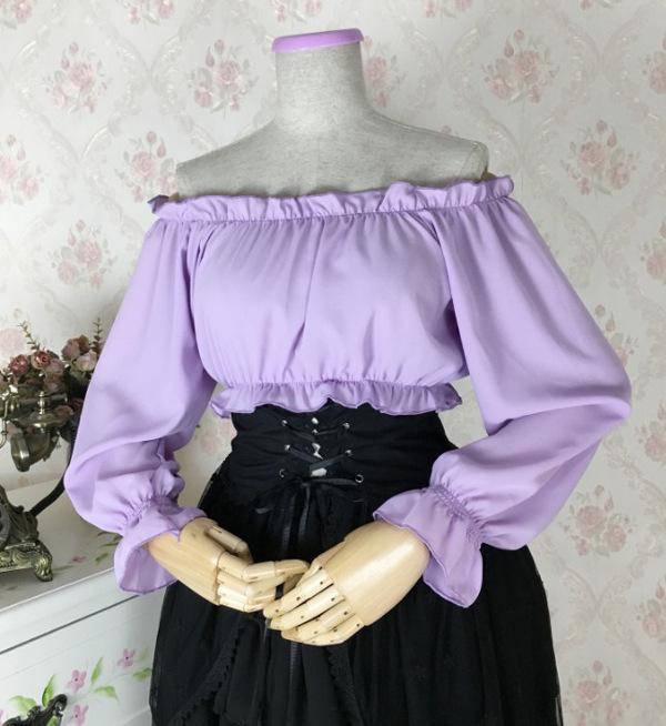 2018 Summer Girls White/Black/Purple Vintage Gothic Ruffles Short Shirts Sexy Ladies Cotton Slash neck Lolita Blouse Costumes