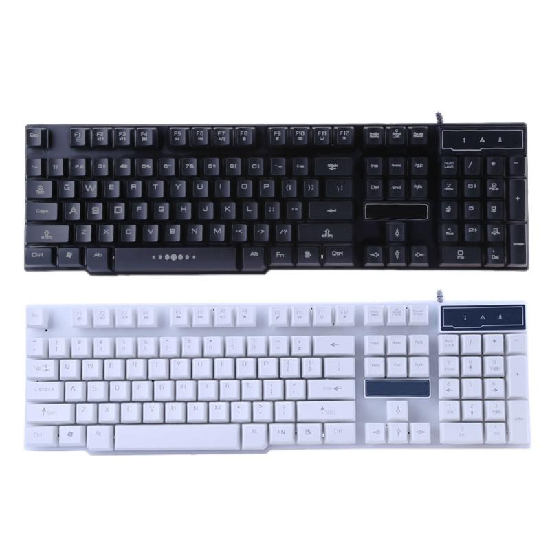 104 keys usb port wired standard waterproof gaming keyboard with backlight led for desktop. Black Bedroom Furniture Sets. Home Design Ideas