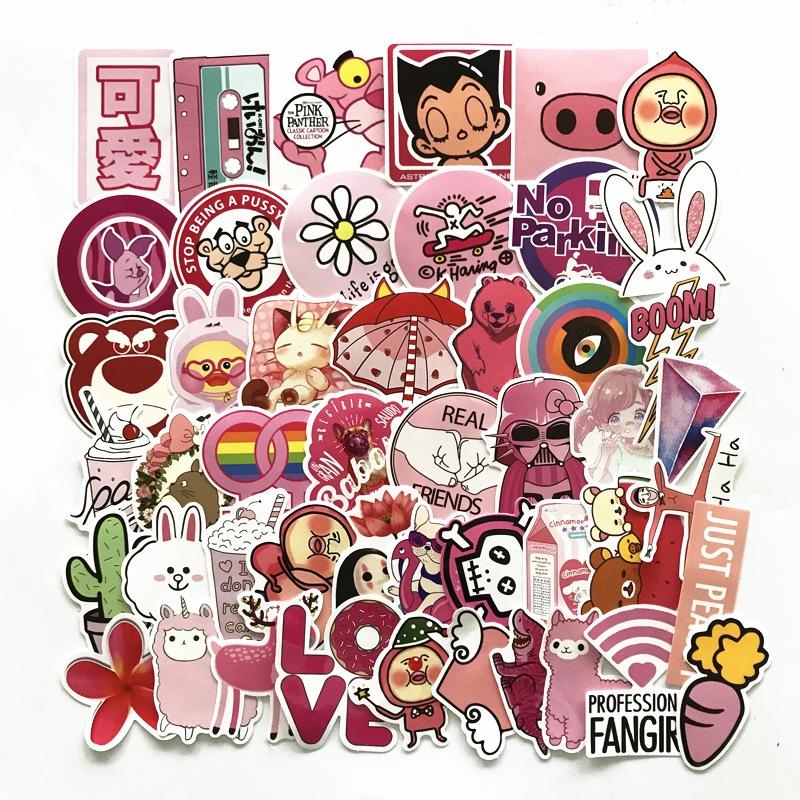 TD ZW 50Pcs Pink Girl Cute Cartoon Stickers For Skateboard Laptop Luggage Fridge Phone Styling Sticker bevle 50pcs tide brand stickers for laptop car styling phone luggage bike motorcycle mixed cartoon pvc waterproof sticker