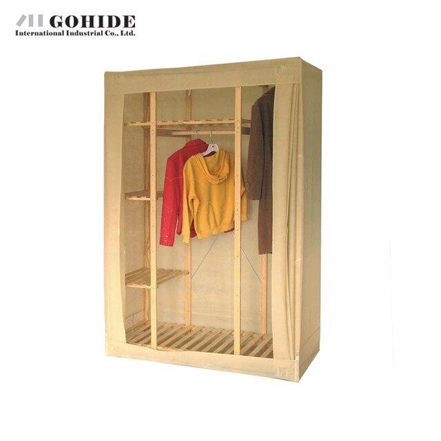 Gohide Home Furniture Savoring 154cm Pine Storage Wardrobe Solid Wood Clothe Cabinet Coat Hangers Lockers