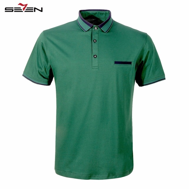 Seven7 Brand New Summer Men Polo Shirts Performance Short Sleeve Tees Tops 100% Cotton Men Classic Solid Color Polos 108T50100
