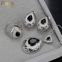2016 Unique Black Crystal Topaz Women Costume Jewelry Sets Big Water Drop Earrings And Necklace For