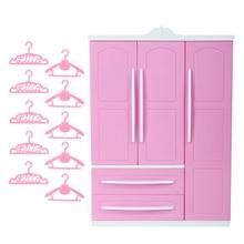 1x Pink Cute Doll Wardrobe + 10x Mix Hangers Mini Closet Princess Dollhouse Furniture Accessories for Barbie Doll Girls Toys